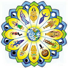 WINDOW STICKER GODDESS MANDALA 113mm Diam Wicca Witch Pagan New Age Yoga Reiki