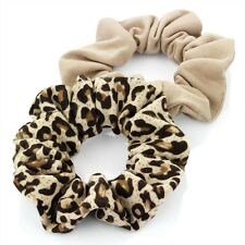 SOFT JERSEY SCRUNCHIE SET LEOPARD PRINT BROWN TONAL ELASTIC HAIR BANDS HAIRBANDS