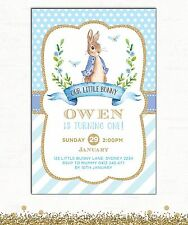 Peter Rabbit Invitation First Birthday Baby Shower Unisex Party Invite Baptism