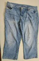 Maurices Womens Capri's / Long Shorts Denim Blue Jeans Size 14 Stretch