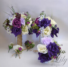 17 Piece Package Wedding Bridal Bouquet Silk Flower PURPLE LAVENDER MAUVE RUSTIC