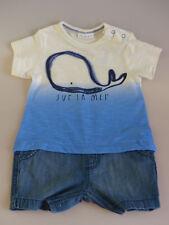 NEXT Jungen Einteiler Anzug Body Jeans *Sur la Mer* blau weiß Gr. 62/68 NEU