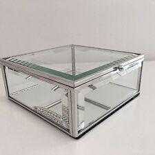 GLASS MIRRORED SQUARE TRINKET BOX DRESSING TABLE JEWELLERY DISPLAY BOX LIDDED