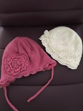 2 BABY GIRL'S WARM WINTER HATS FROM H&M - 2-6 MONTHS
