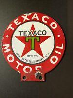 Vintage TEXACO Motor Oil Double-sided Porcelain Paddle Mini-sign for lubester