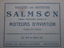1931 PUB SOCIETE MOTEURS SALMSON MOTEUR AVIATION AERO ENGINE ORIGINAL FRENCH AD