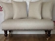Long Footstool Stool & 4 Cushions Laura Ashley Edwin Natural Fabric