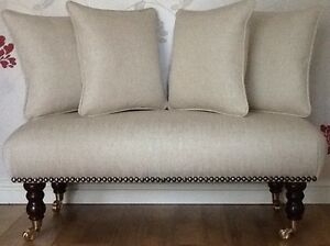 Footstool Stool Plus 4 Cushions Laura Ashley Edwin Natural Fabric