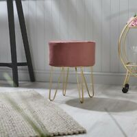 Ports of Call: Jeff Banks Soft Velvet Footstool Pink Luxury Living Room Chair