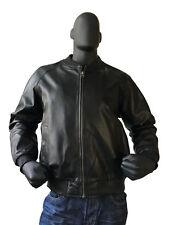 Jakewood Men's Black Genuine Lambskin Leather Baseball Bomber Jacket, Size 4XL