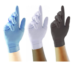 DISPO GLOVES LATEX OR NITRILE - BLUE/WHITE/BLACK AVAILABLE - QTY: 20/50/100/200