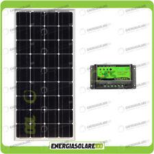 Kit Solare Fotovoltaico 100W Monocristallino 12V Mantenimento batteria auto camp
