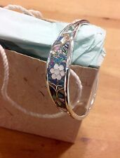 Bracelet Mexico Sterling  Silver plated, Mother Of Pearl resin Inlay floral