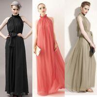 UK Womens  Elegant Maxi Chiffon Evening Party Gown Prom Long Dress 10 Colors