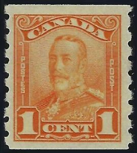 Scott 160: 1c King George V Scroll Issue Coil, Fresh Stamp, VF-HR, cat. $60.00