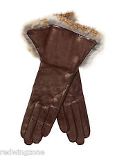 Maison Fabre Solid Rabbit Fur Cuffs Lambskin Leather Gloves, Dark Brown, NEW!!