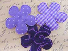 """60 Purple/Lavender 1.5"""" Cotton Print Fabric Flower Applique/dot/floral/trim H346"""