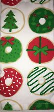 2 Christmas Doughnuts Kitchen Towels Sprinkles Tree Holly Wreath Gift Donuts