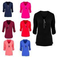 Women Spring Long sleeve Tops blouse Ladies Summer Glittery zip Shirt size 8-20