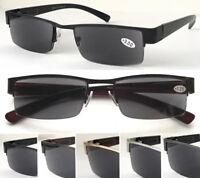 SL401 Metal Semi Rimless Reading Sunglasses/100%UV400/Spring Hinges Plastic Arms