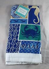 """Mainstream Kitchen Dish Towel - New - Crabs, Seahorses & Silver Dollars """"Relax"""""""