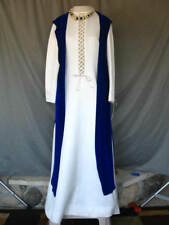 Medieval Renaissance Gown Dress Queen Princess Noble White With Blue Robe Tunic