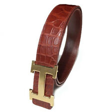 No Jointed Brown Genuine Crocodile Alligator Skin Leather Belt 4.0cm Width