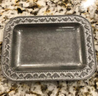 "VTG WILTON RWP Pewter Metal 7.5"" Serving Platter Tray Scallop Heart Doves"