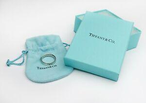 Tiffany & Co Platinum Flat Wedding Band Ring size S us9 original box &pouch used