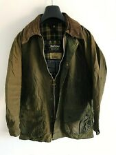 Mens Barbour Beaufort wax jacket Olive Green coat 38 in size Small / Medium S/M