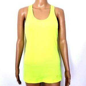 Under Armour Size Small Neon Yellow Athletic Running Yoga Racerback Tank Top