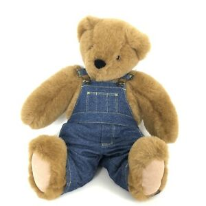 """The Vermont Teddy Bear Co. For Life Jointed Bear 16"""" W/OEM Overalls"""
