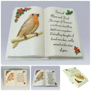Robin Book Christmas Memorial Tribute - Xmas Tree Plaque Verse Graveside Holly