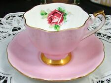 QUEEN ANNE RED ROSE PINK RUFFLED TEA CUP AND SAUCER