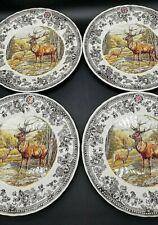 "New Set Of 4 ""Queens Majestic Beauty"" Thanksgiving Buck Deer 8"" Salad Plates"