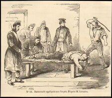 29 BREST BAGNE PENITENTIER FORCATS BASTONNADE GRAVURE 1849 ENGRAVING