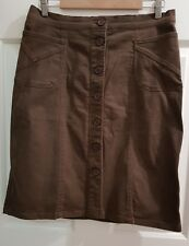 Ladies Size 12 Brown Suede Feel Button Front Skirt - Rockmans