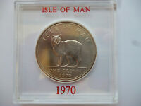 1970 Isle of Man Crown coin uncirculated Manx Cat, in a near scratch free case.