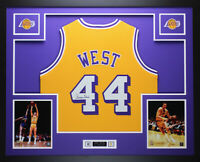 Jerry West Autographed and Framed Gold Lakers Jersey Auto JSA COA (D1-L)