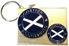 Gift Bxd Scottish Scooterist Metal Keyring & Enamel Badge Set MOD Scooter Rider