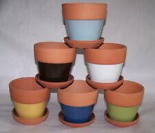 "4 5/8"" wide Set Of 6 Terra Cotta Rim Planters W/ Saucers Multiple Colors"