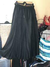 Womens Size 12 Long Black Summer Skirt, Flare, Elasticated Waist, Paisley Print