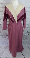"Vintage 70s maxi dress 10 P Bust 34"" pink long sleeve batwing velour silver trim"