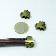 8 Abalorios Para Cuero Media Caña 17x15mm T03A Plata Tibetano Perline Perles