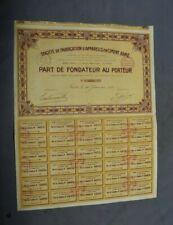 Action  au Porteur - Société de fabrication d'appareils en ciment armé 1921