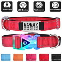 Personalized Dog Collar Reflective LED Light Nylon Custom Engraved ID Name Pet