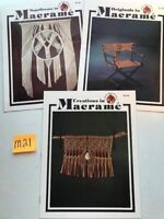Lot of 3 Vintage Macrame Pattern Instruction Booklets Turk's Head Books  + M21