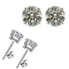 1 Carat 5MM Round White CZ 925 Silver White Gold Plated Stud Earrings