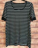 EVANS Long Top Black/White Striped BRETON Tunic Stretch Short Sleeved UK-18