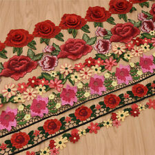 1 Yard Embroidered Red Floral Lace Trims Sewing Fabric Embellishments Diy Craft